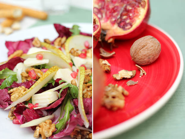 Pomegranates & walnuts for some salad crunch!