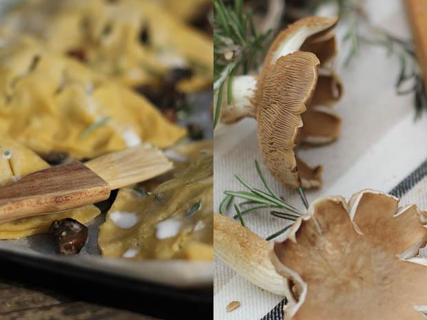 Mushroom pasties ready to bake