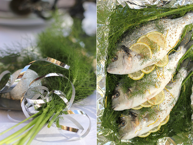 Silver sea bream steamed on fennel