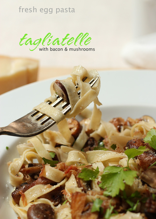 Tagliatelle, fresh egg pasta with bacon & mushrooms