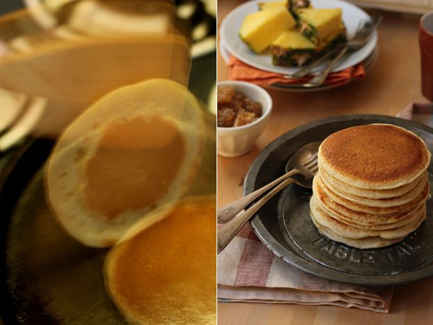 Flipping American-style pancakes