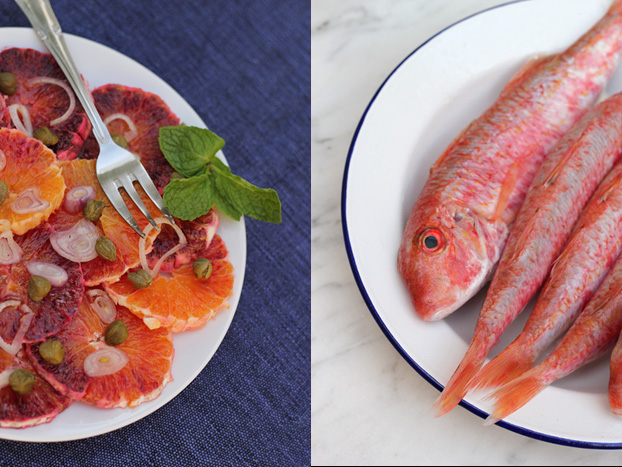 Blood orange and caper salad with grilled red mullet