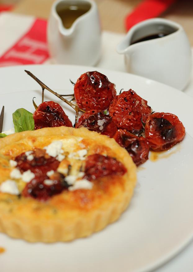 Balsamic cherry tomato, feta & basil tartelettes