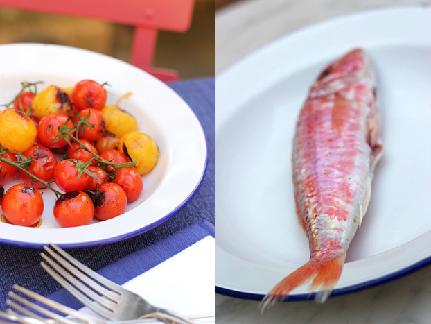 Red mullet grilled with red & yellow cherry tomatoes