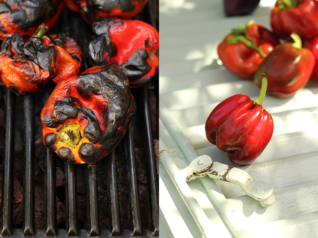 Red bell peppers roasting on BBQ