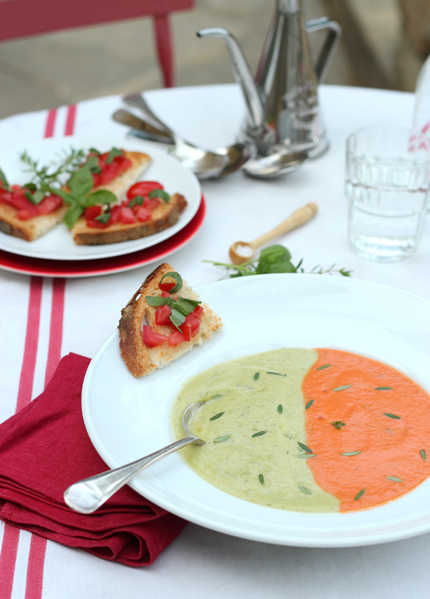 Summer soup duo: tomato & zucchini served together