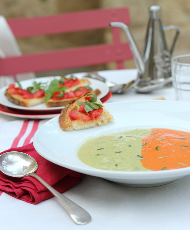 Fresh tomato & zucchini soup duo
