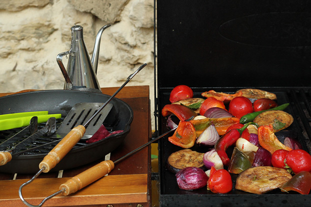 Mediterranean summer vegetable on BBQ grill