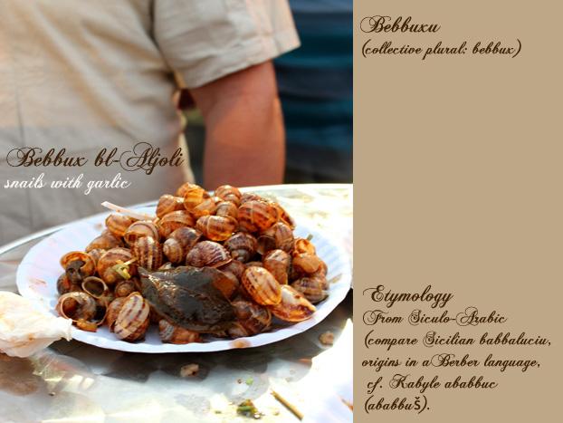 Bebbux (snail in Maltese) etymology