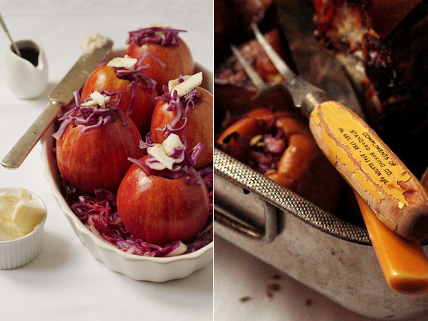 red cabbage stuffed apples