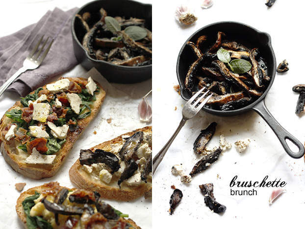 Bruschette brunch with Portobello mushrooms