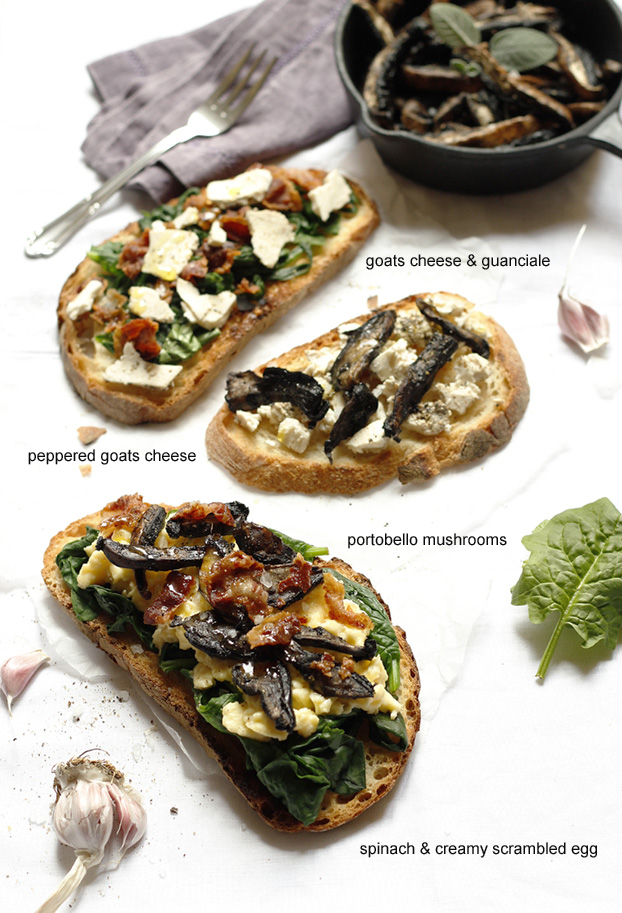 Three versions of Portobello mushroom bruschette