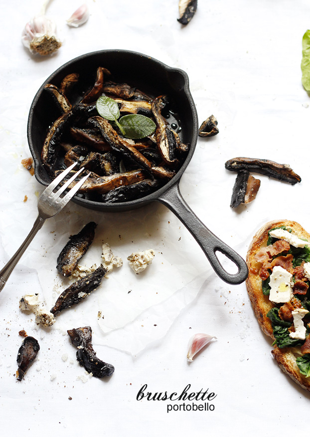 Bruschetta brunch with Portobello mushrooms
