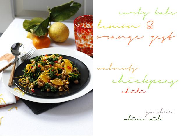 Citrus curly kale salad
