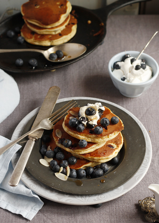 Blueberry Almond Buttermilk Pancakes