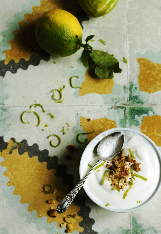 Lemon, lime, ginger & hazelnut mousse