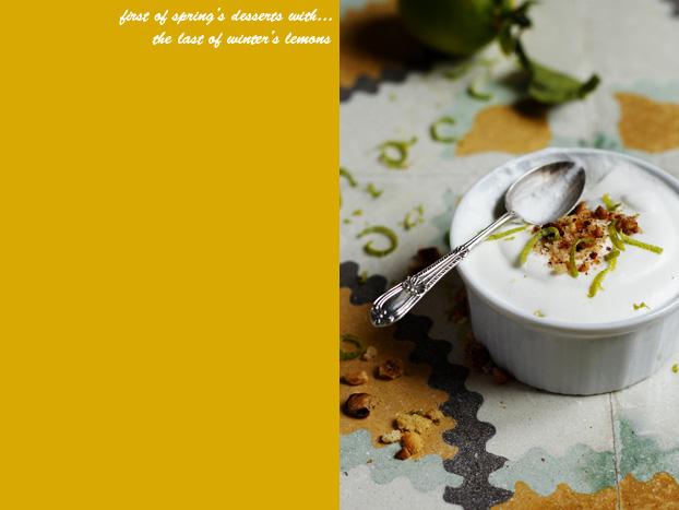 Lemon, lime, ginger & hazelnut mousse