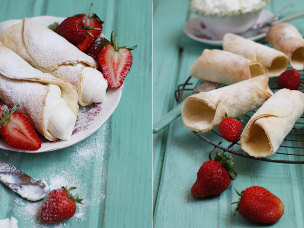 Sicilian Cannoli with Strawberries & Ricotta Cream
