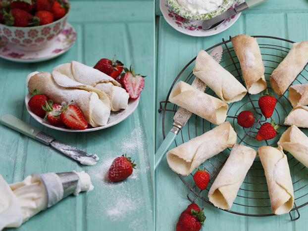 Sicilian Cannoli with Strawberry Ricotta Cream