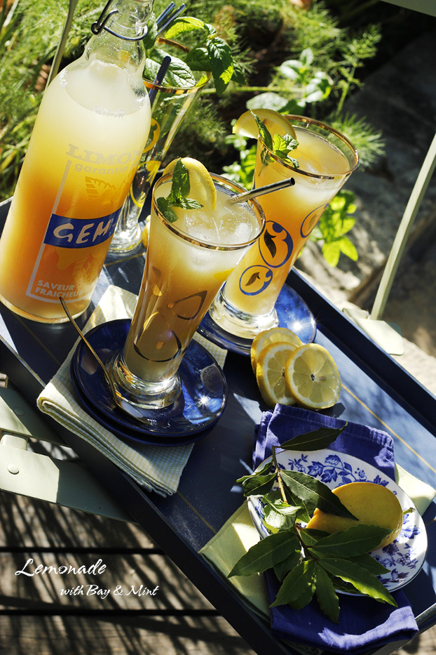 Homemade lemonade recipe with bay and mint