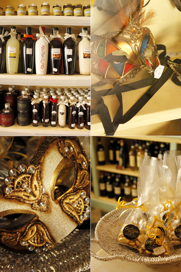 Venetian masks & liqueurs at Colonial Store, Valletta, Malta