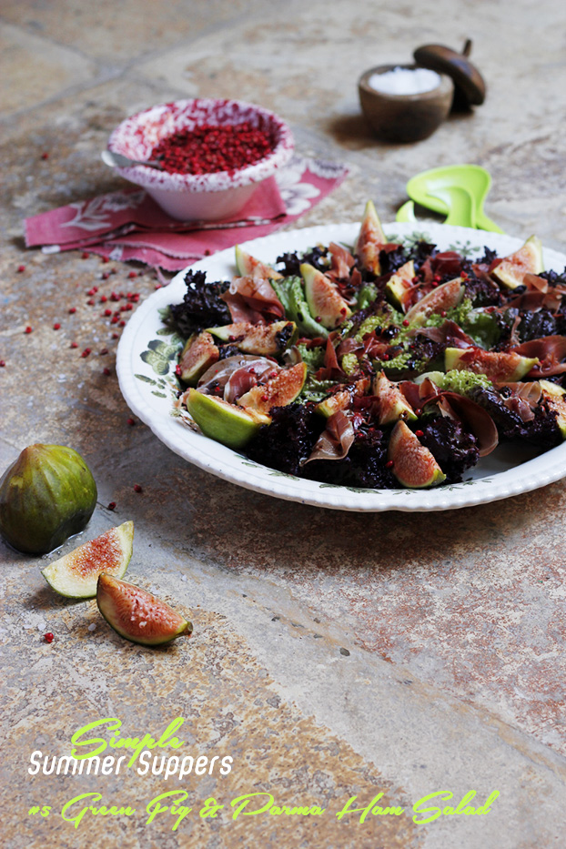 Green Fig & Parma Ham Salad with Red Pepper Balsamic Dressing