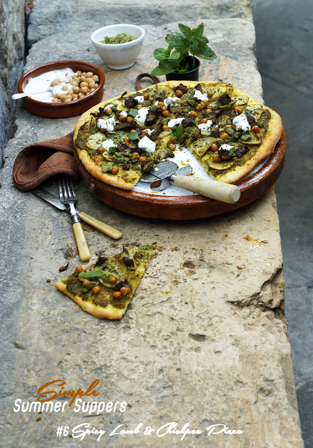 Pizza 'Lebanon' of Spicy Lamb, Chickpeas & Mint