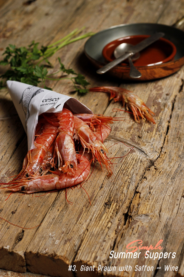 Giant Prawn with Saffron & White Wine
