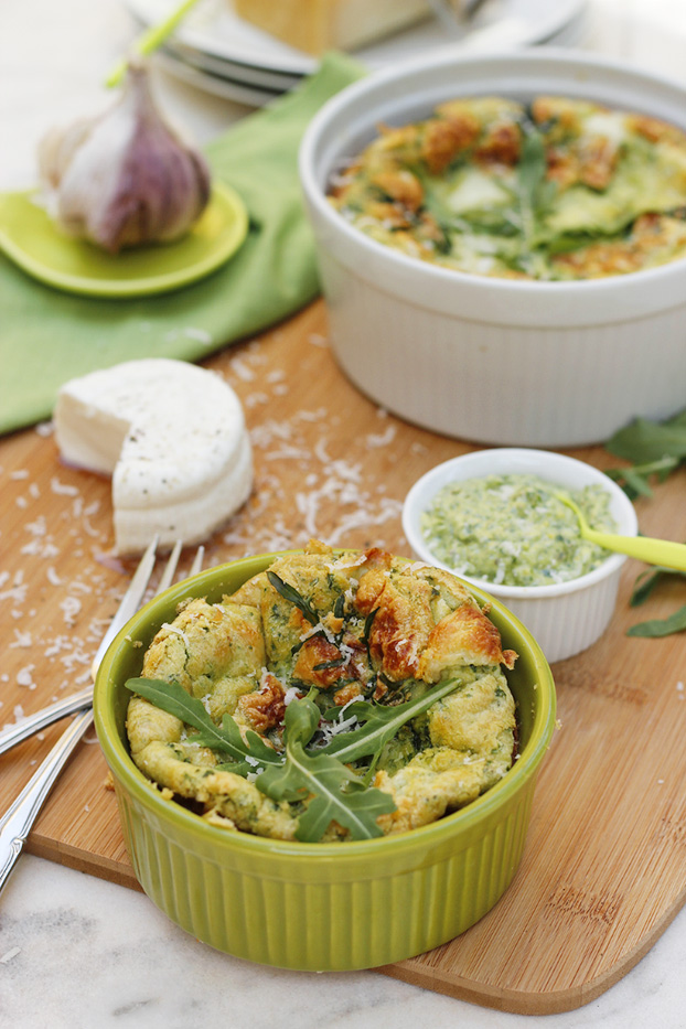 rocket pesto and goats cheese clafoutis