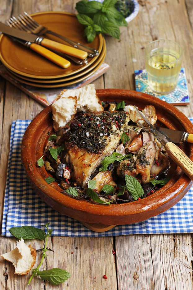 Herb roast lamb with aubergines